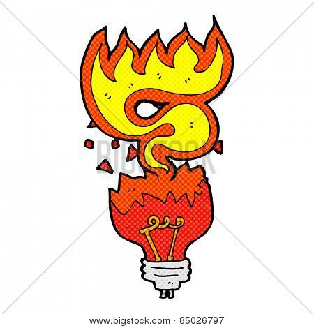 retro comic book style cartoon red light bulb exploding