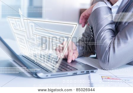Businessman Working On Laptop Maze Solving, Business Strategy Concept