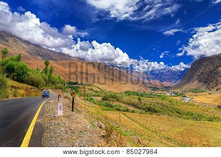 Road And Mountains Of Leh, Ladakh, Jammu And Kashmir, India