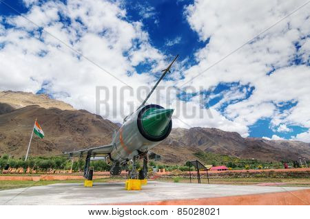 Mig-21 Fighter Plane Of Indian Air Force Used In Kargil War, Displayed As Victorious Memory.