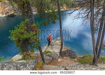 Photographer in Horseshoe Lake