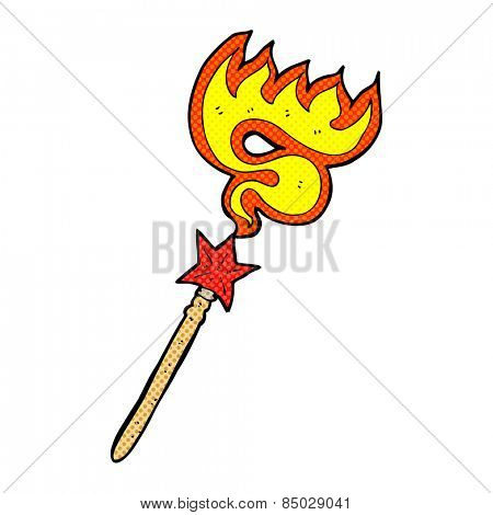 retro comic book style cartoon magic wand casting fire spell
