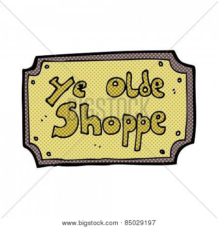 retro comic book style cartoon old fake shop sign