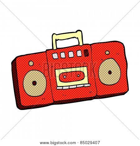 retro comic book style cartoon radio cassette player
