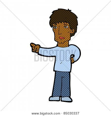 retro comic book style cartoon pointing man