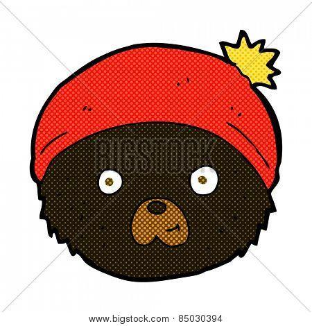 retro comic book style cartoon teddy bear face