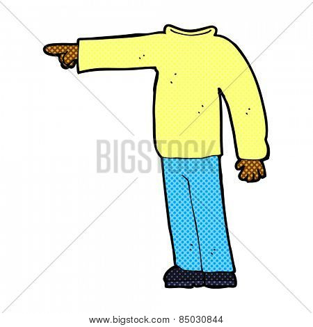 retro comic book style cartoon headless man pointing
