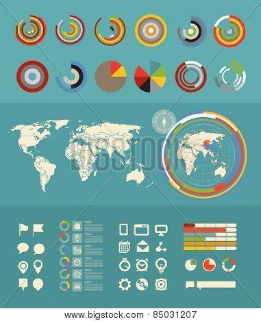 Infographic elements clip-art. Flat design elements