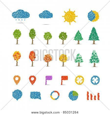 Different icons collection isolated on white. Illustration with abstract gradient polygonal pieces. Infographic design elements