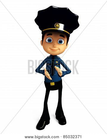 Policeman With Clapping Pose