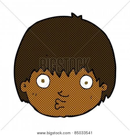 retro comic book style cartoon curious boy