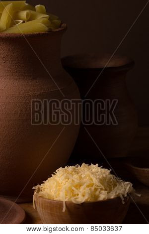 Cheese In A Wooden Bowl