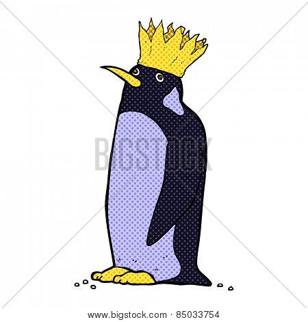 retro comic book style cartoon emperor penguin