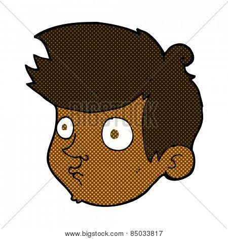 retro comic book style cartoon staring boy
