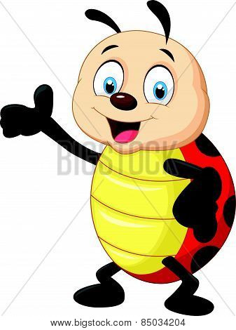 Happy cartoon ladybug waving hand