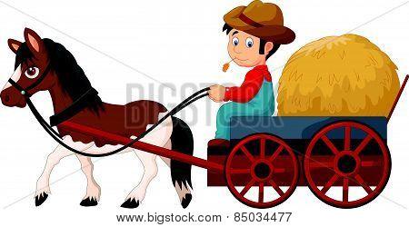 Cartoon farmer with hay cart