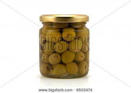 Glass jar of olives
