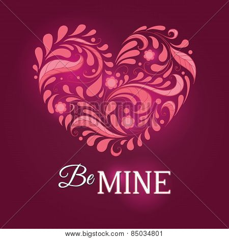 Template For Valentine Card With Heart