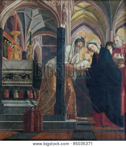 ST. WOLFGANG, AUSTRIA - DECEMBER 14: Presentation in the Temple on the main altar in Parish church in St. Wolfgang on Wolfgangsee in Austria on December 14, 2014.