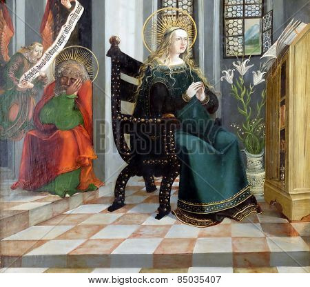 HALLSTATT, AUSTRIA - DECEMBER 13: Annunciation, altar in Maria am Berg church on December 13, 2014 in Hallstatt, Austria.