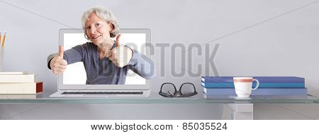 Old woman in laptop computer holding both thumbs up (3D Rendering)