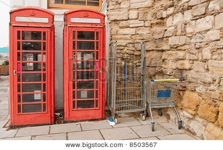 Red Telephone Boxes And Supermarket Trolleys