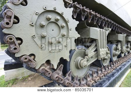 Close-up of tracks of a M4A1 Sherman tank in Overlord Museum Omaha Beach, Normandy, France.