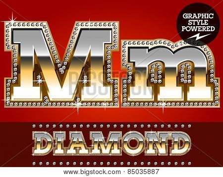 Vector set of luxury font in gold color with diamond border. Letter M