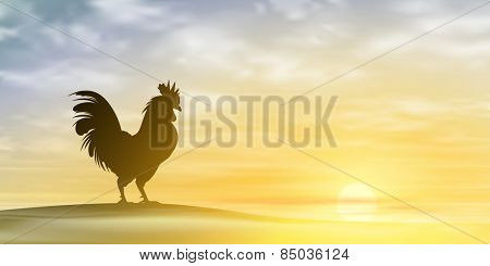 A Misty Morning Landscape with Cockerel, Rooster. Vector EPS 10