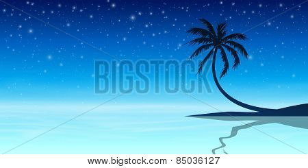 Palm Tree in Silhouette with Night Sky and Stars - Vector EPS 10