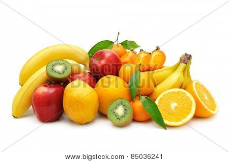 collection fruit isolated on a white background