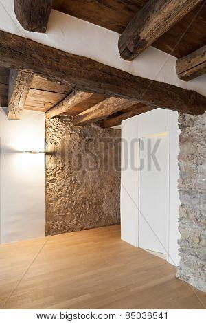 Architecture, comfortable loft, empty room with door