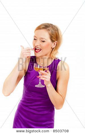 beautiful woman celebrating an event with glass of champagne