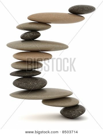 Balanced Stone Tower Over White