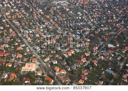 Suburban area of a town viewed from above