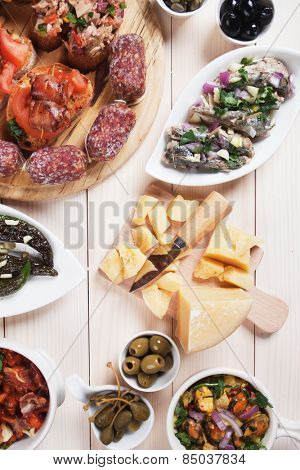 Tapas or antipasto food, mediterranean cold buffet