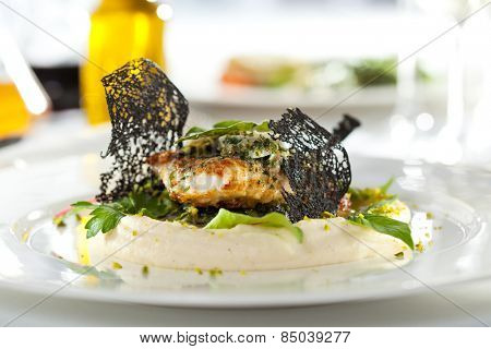 Baked Flounder with Mashed Potatoes and Spinach