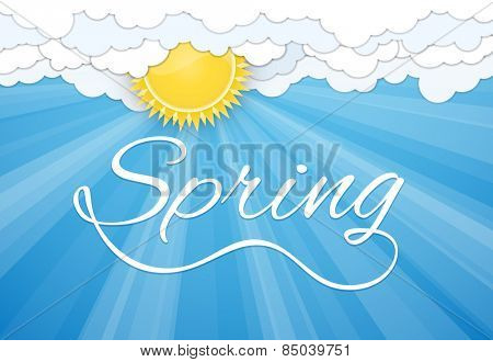 Spring postcard print template. Sun and white clouds over blue sky. Vector illustration