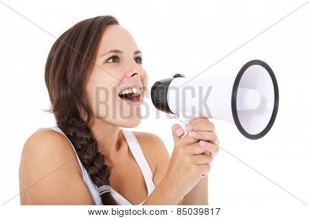 Attractive teenage girl using megaphone