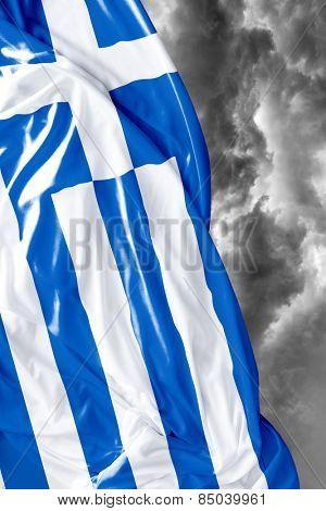 Greek waving flag on a bad day