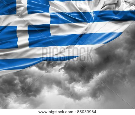 Greek waving flag on a bad day