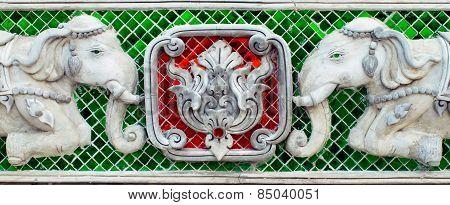 Two Elephant Stucco sculpture closeup