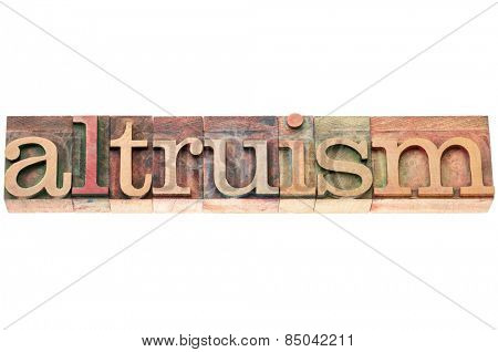 altruism word typography - isolated text in letterpress wood type blocks