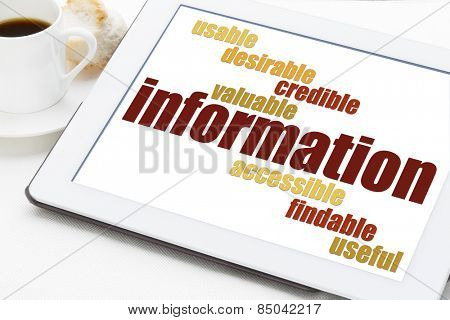 user experience concept - attributes of information important for usability and user experience on a digital tablet