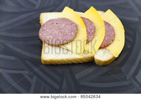 Fresh Salami and Cheese with Toast Bread