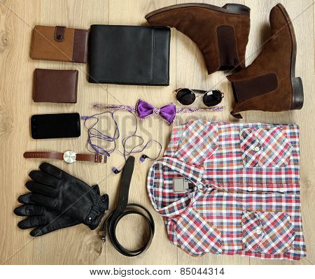 Still life of casual man on wooden background