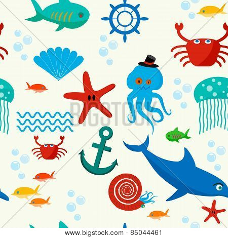 Underwater And Sea Animals Seamless Pattern