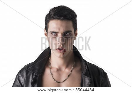 Portrait Of A Young Vampire Man In An Open Black Leather Jacket,