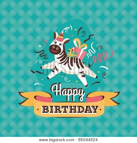 Vintage birthday greeting card with zebra on a geometric retro background