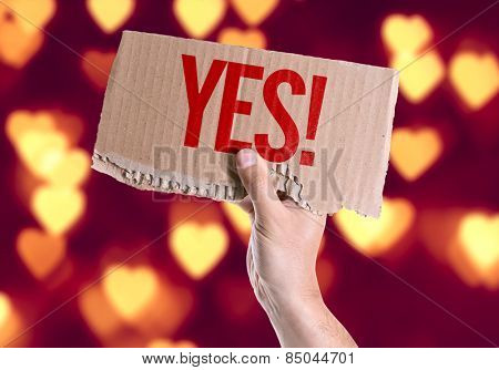 Yes! card with heart bokeh background